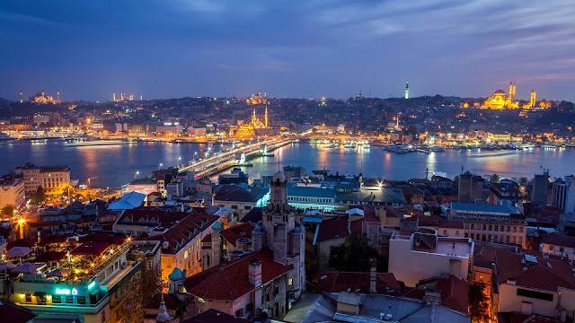 Turkey Istanbul city night houses lights HD Wallpaper