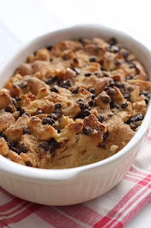 Chocolate chips bread pudding