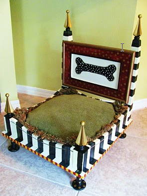 Condo Blues End Table Upcycled into a Whimsical Dog Bed