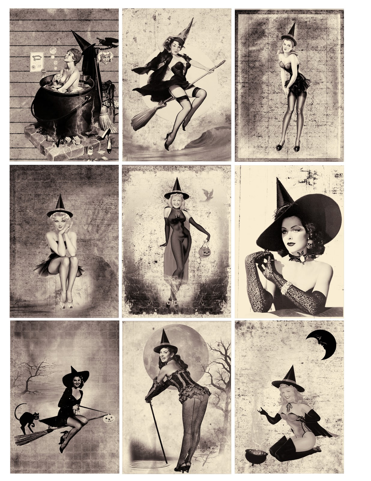One Blank Dream Free Sexy Pin Up Halloween Witches Atc