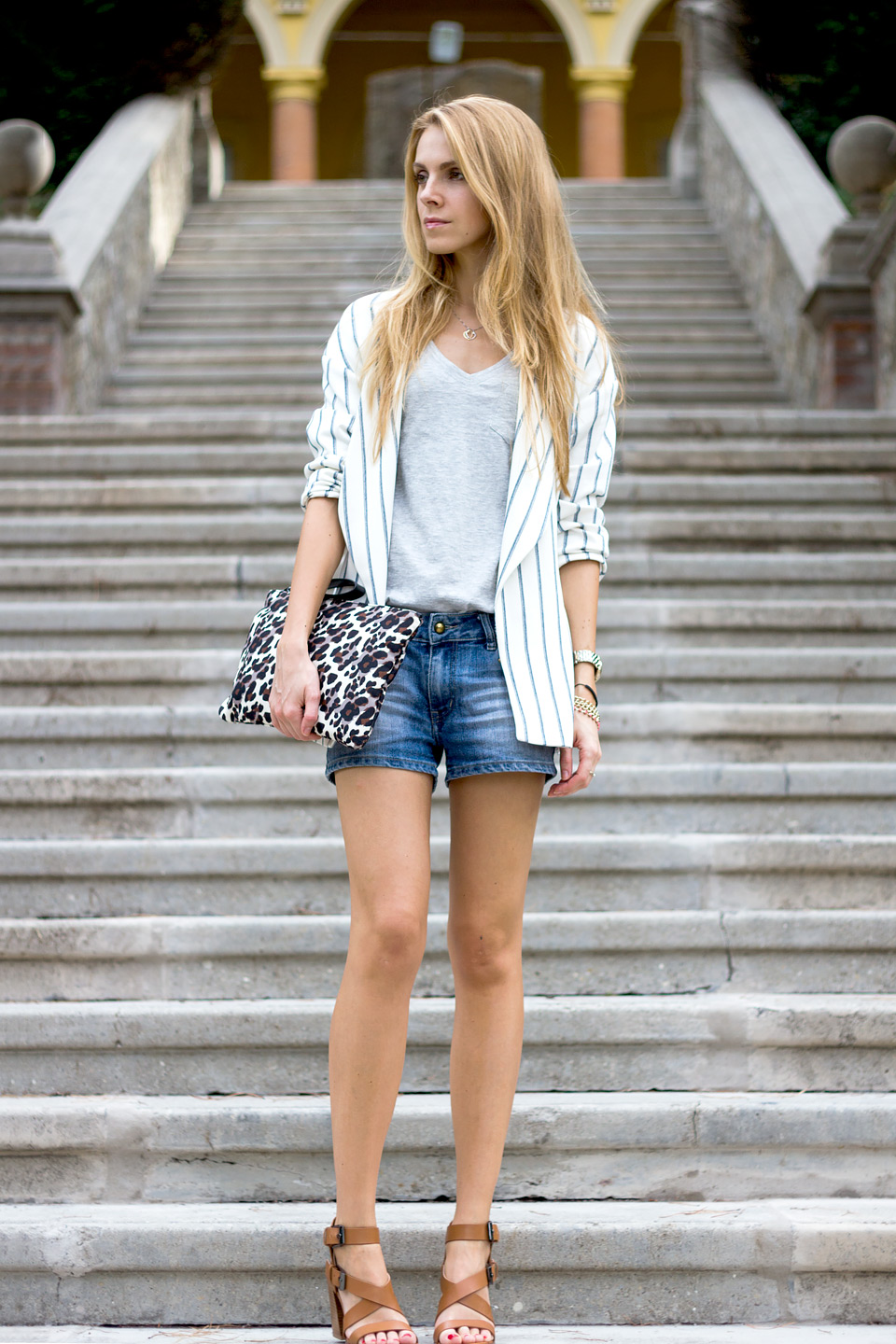 striped blazer, denim shorts, leopard print clutch, summer outfit