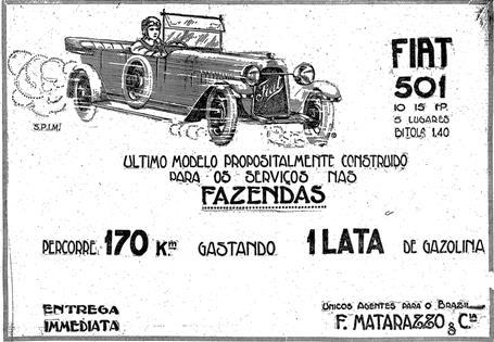 Propaganda do Fiat 501 para fazendas: carro prometia economia e bom desempenho nas estradas sem asfalto.