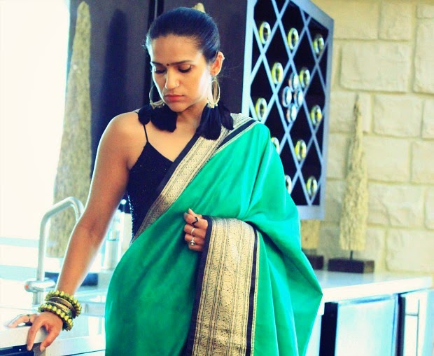 Saree - Stolen from Mom ;) Top - Massimo Dutti  Shoes - Moschino  Earrings - Gift Gold Block Bangles - c/o Aryom, Tanvii.com