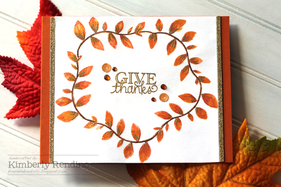 Give Thanks Card by Guest Designer Kimberly Rendino for Newton's Nook Designs | Fall Leaves