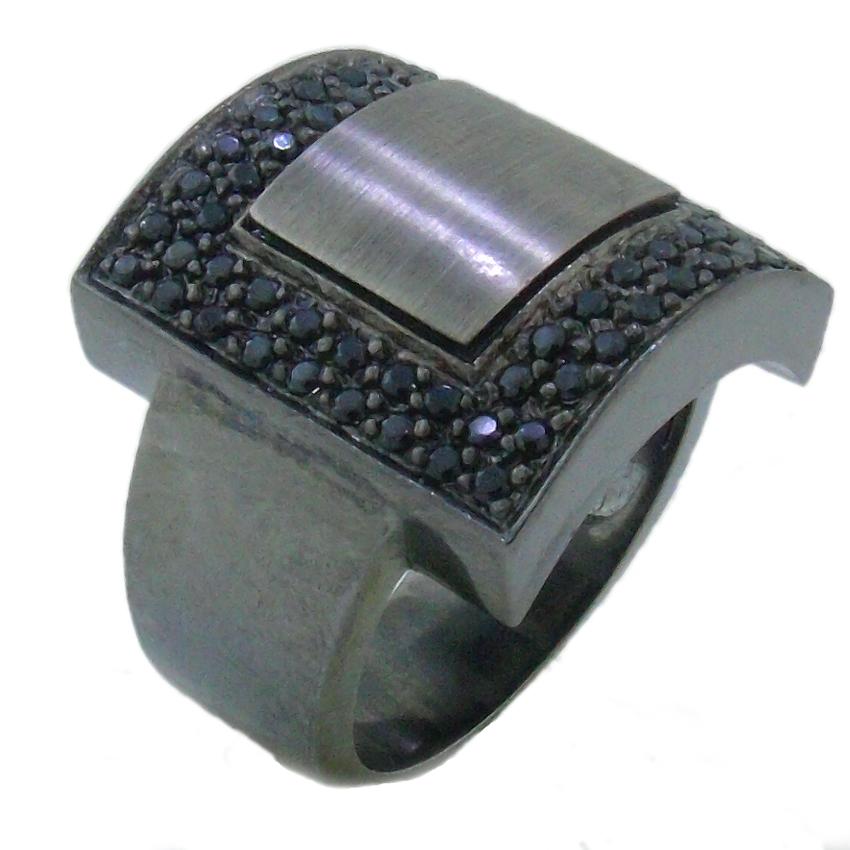 anel banho de rodio zirconias negras