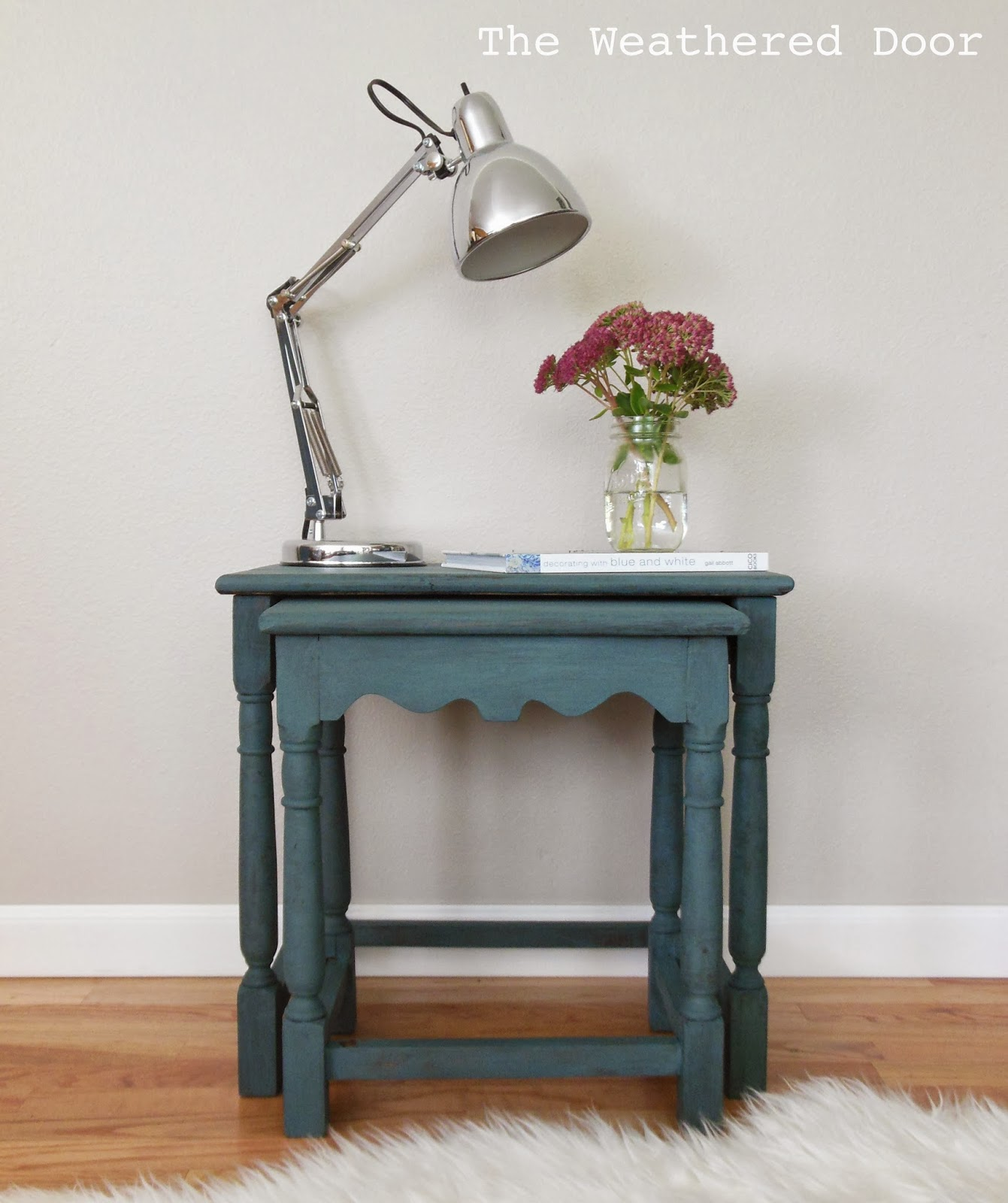 Marvelous photograph of The Weathered Door: A pair of milk paint nesting tables with #6D4530 color and 1341x1600 pixels