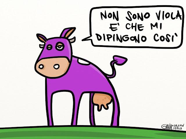 gavavenezia gava vignette illustrazioni caricature ridere piangere pensare satira milka mucca viola animali sofferenze lav wwf torture pubblicità