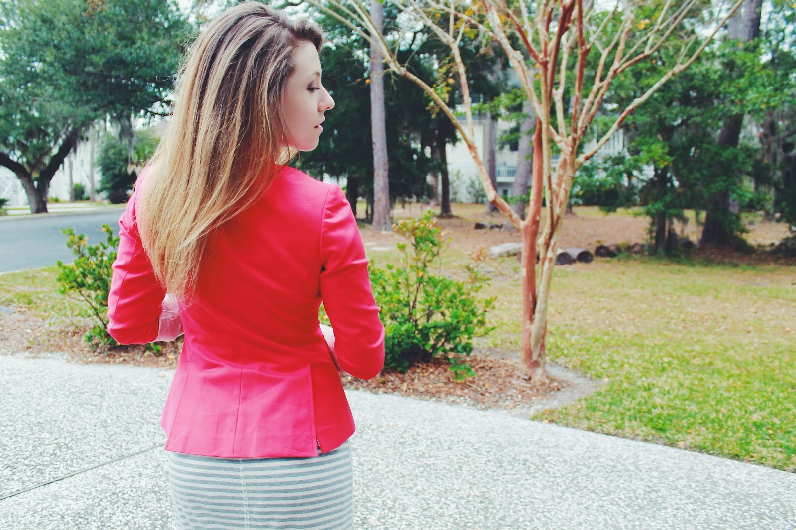 What I Wore: Coral + Stripes, outfit of the day, Centime gift, loft dresses, women's blazers, red blazer, red jacket, maxi dresses for winter