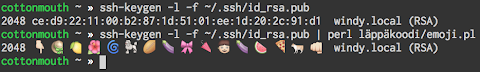 [Image: Terminal screenshot showing a PGP key fingerprint and the same with all hex numbers replaced with emoji.]