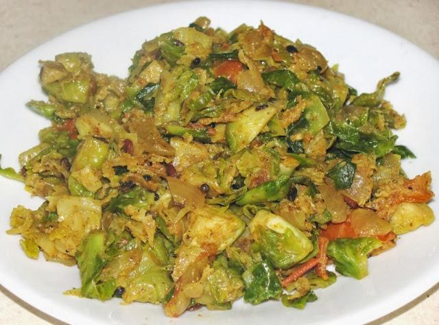 Amma's Kitchen: Spicy Brussel Sprouts Stir fry / poriyal