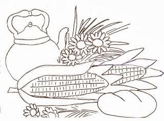 desenho de milho com chaleira e pão para pintar