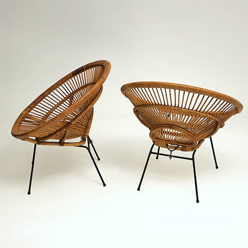 galerie riviera fauteuils en rotin ann es 50 50s rattan hoop chairs. Black Bedroom Furniture Sets. Home Design Ideas