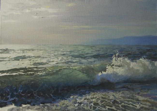 """""""Прибой в Алахадзы"""". Холст, масло. Пейзажи Алексея Епишина. Море, волна..."""