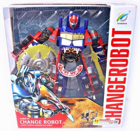 Kado ulang tahun berupa mainan robot keren Optimus yang dapat berubah bentuk menjadi mobil.