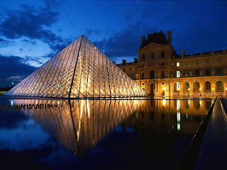 France Louvre Museum Glass Pyramid Night Lights HD Wallpaper