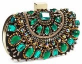 Natasha Couture clutch, Natasha rhinestone clutch handbag, emerald beaded clutch, green rhinestone clutch purse, holiday rhinestone bag