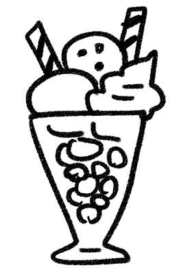 パフェのイラスト(お菓子) モノクロ線画