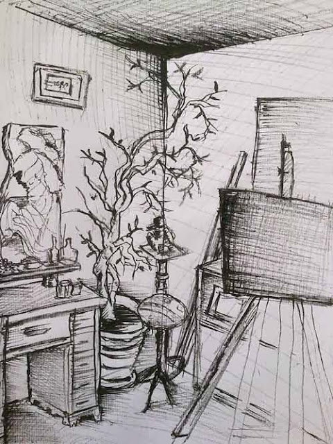 dibujo del natural de una esquina del estudio con tinta