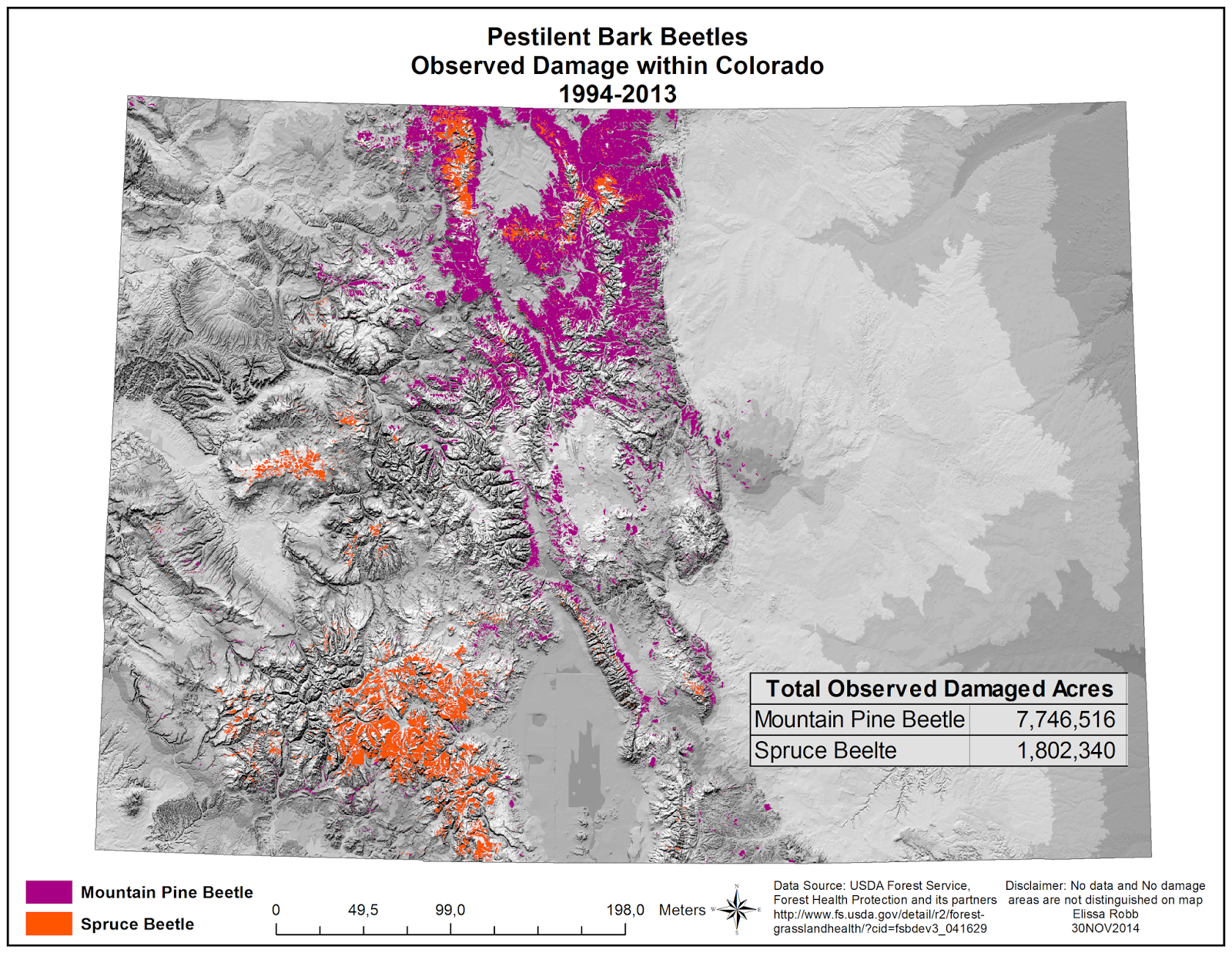 this map shows the destruction from mountain pine beetles in purple and spruce beetles in orange within the state of colorado from 1994 2013