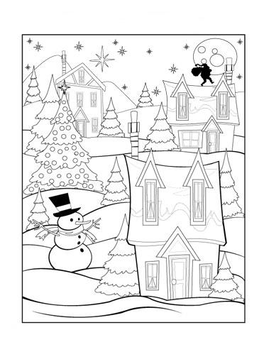 christmas village coloring