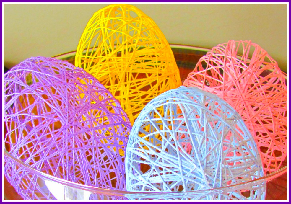 Easter ideas embroidery floss eggs
