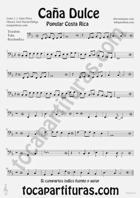 "Tubescore ""Caña Dulce"" Sweet Cane by JJ Salas Perez and Jose Daniel Zuñiga for Trombone Tube and Euphonium Puerto Rico popular song Music Score"