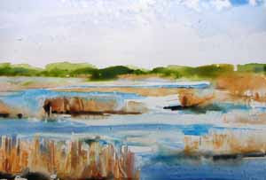 Broad Creek, Hilton Head Island, watercolor on YUPO