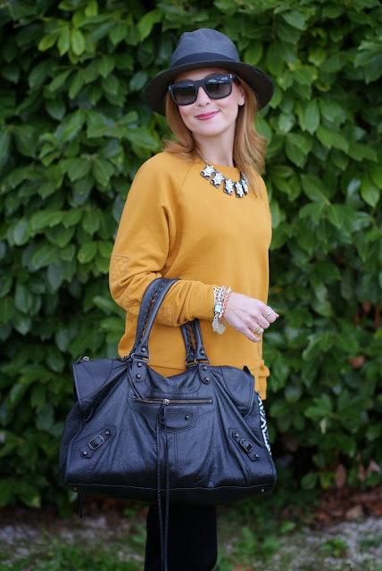outfits, mustard sweatshirt, balenciaga work bag, ecua-andino panama hat, black panama hat, fashion and cookies, fashion blogger