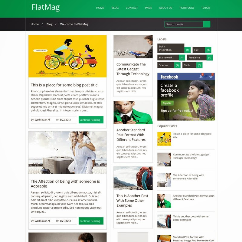 Flat Mag Free responsive blogger template