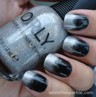 Black & Silver Gradient Nails