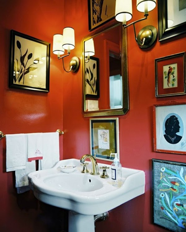 Sonar Con Un Baño Oscuro:10 Baños en naranja y blanco – Colores en Casa