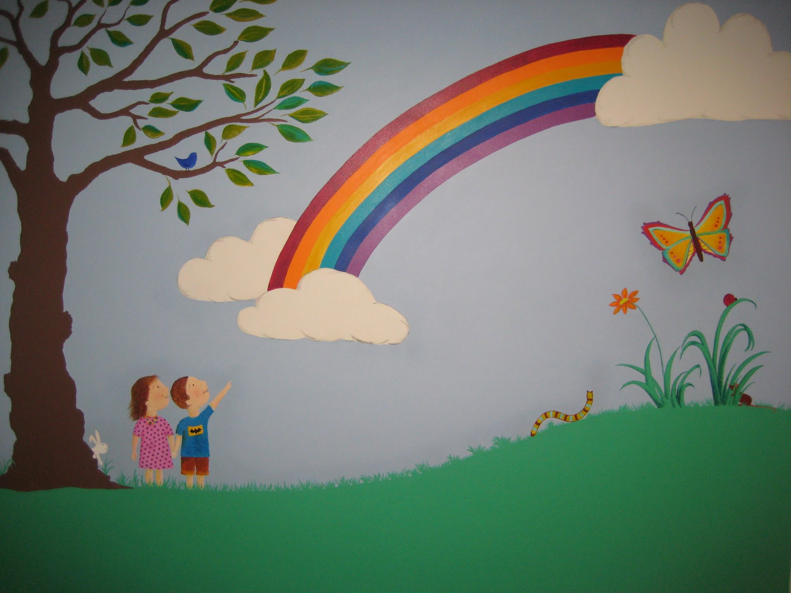 Crafty little people our beautiful rainbow wall mural for Child mural wallpaper