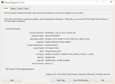 கணினி DirectX Diagnostic Tool
