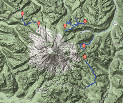 Topology Map of All Four Hikes This Season Around Rainier