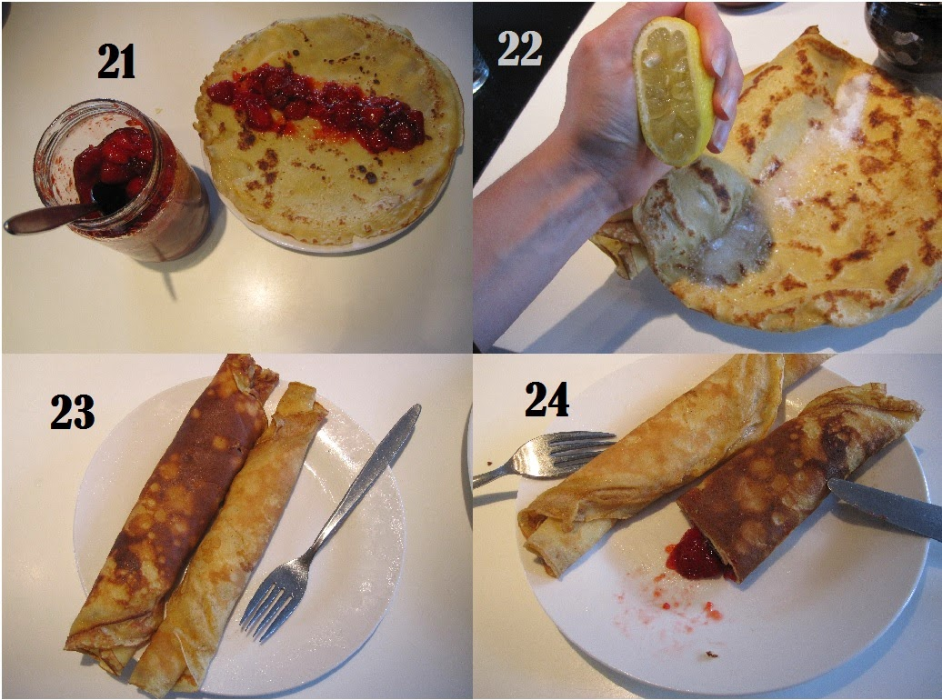 Super lækre og gode pandekager, serveres med sukker, citron, marmelade, syltetøj, nutella,