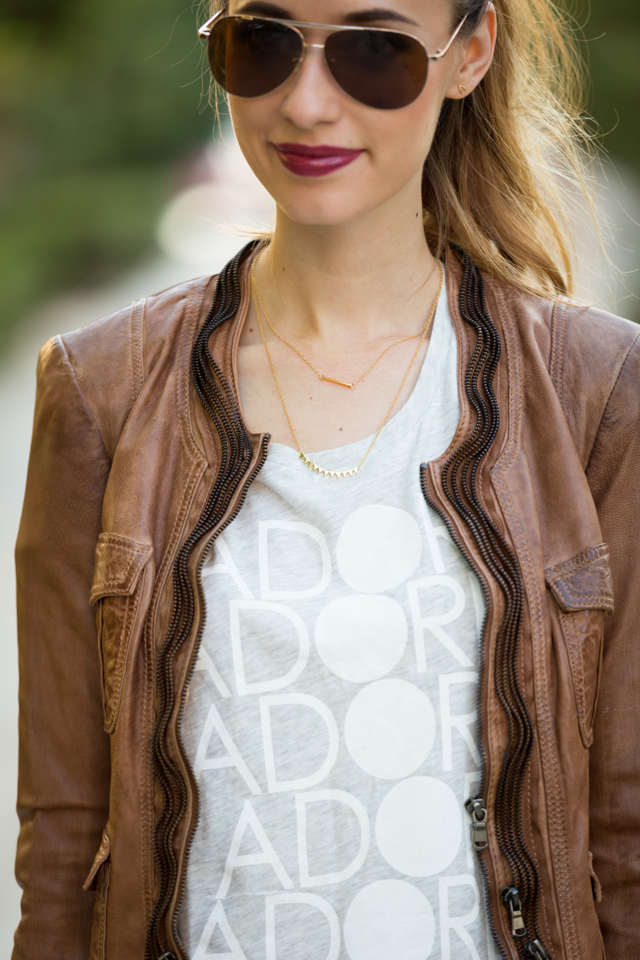 adore t-shirt and gorjana necklaces with brown leather jacket, M Loves M {click through for more photos and product info}