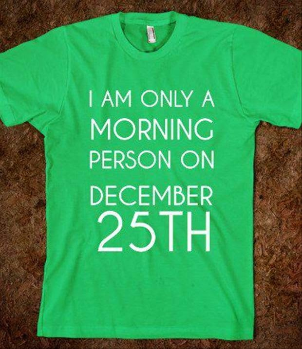 I am only a morning person on December 25th t-shirt