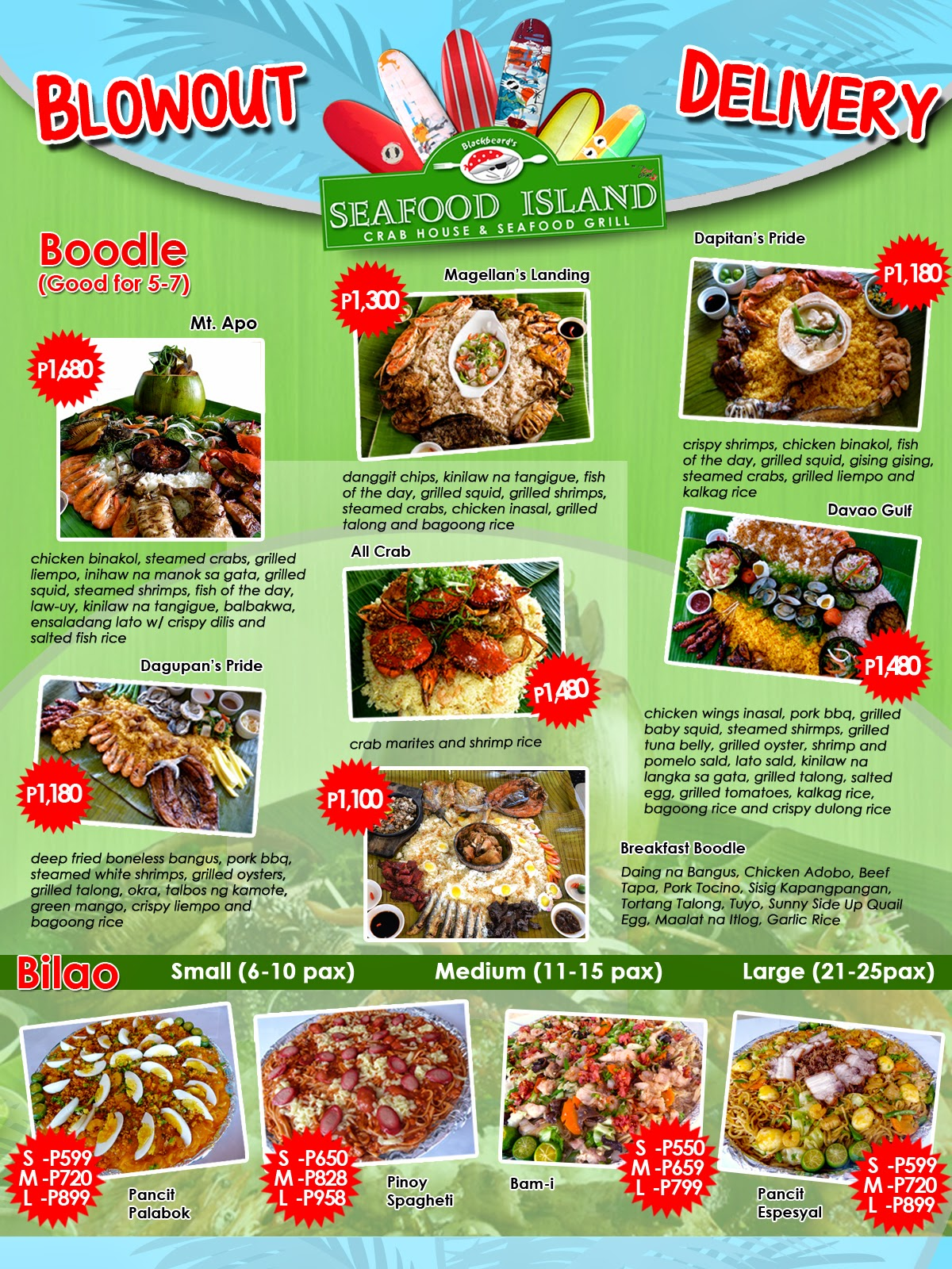 Boodle feasts in cebu checkout blackbeard s seafood for Family fish market menu