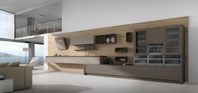 Grande cuisine design bicolore implantée en I avec jeux de niveaux