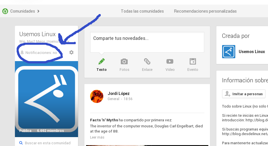 desactivar notificaciones de comunidad google plus