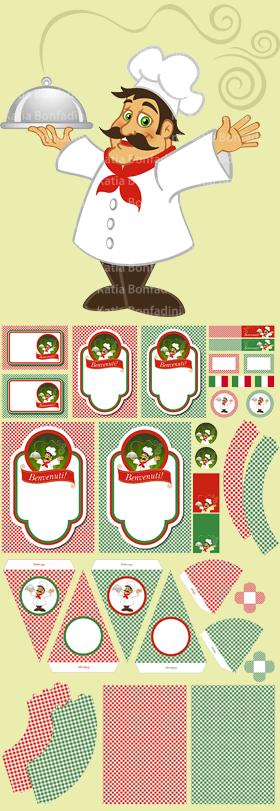 "Ilustração para kit digital ""Jantar/Festa italiana"""