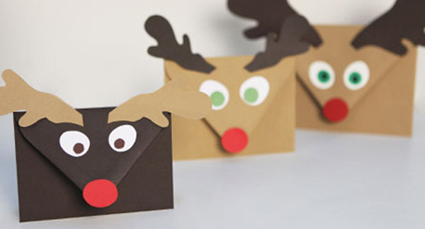 una cara de reno - Postales De Navidad Caseras