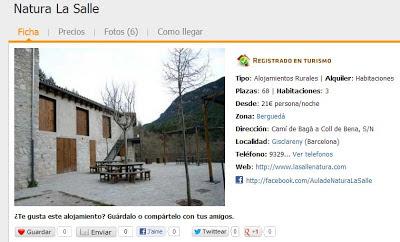 cara rural Natura La Salle Gisclareny Barcelona