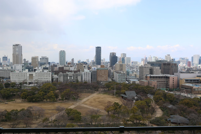Osaka downtown view from the top level in Osaka Castle, Japan
