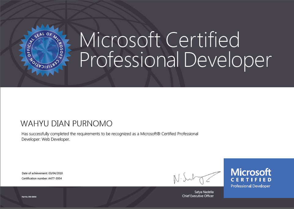 Microsoft Certified Professional Developer (MCPD), Web Developer, 2010