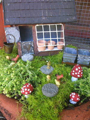 gnome fairy garden, chicken fairy garden