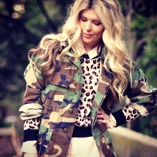 camo jacket, long waves