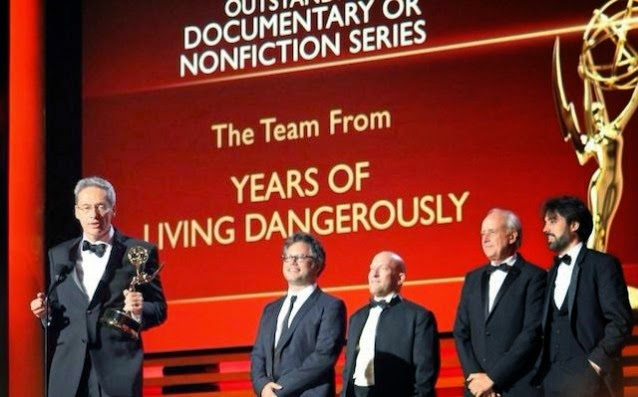 """Executive Producer David Gelber (along with colleagues) accepts the Emmy for Showtime's """"Years of Living Dangerously"""" TV series.  (Credit: Showtime) Click to enlarge."""