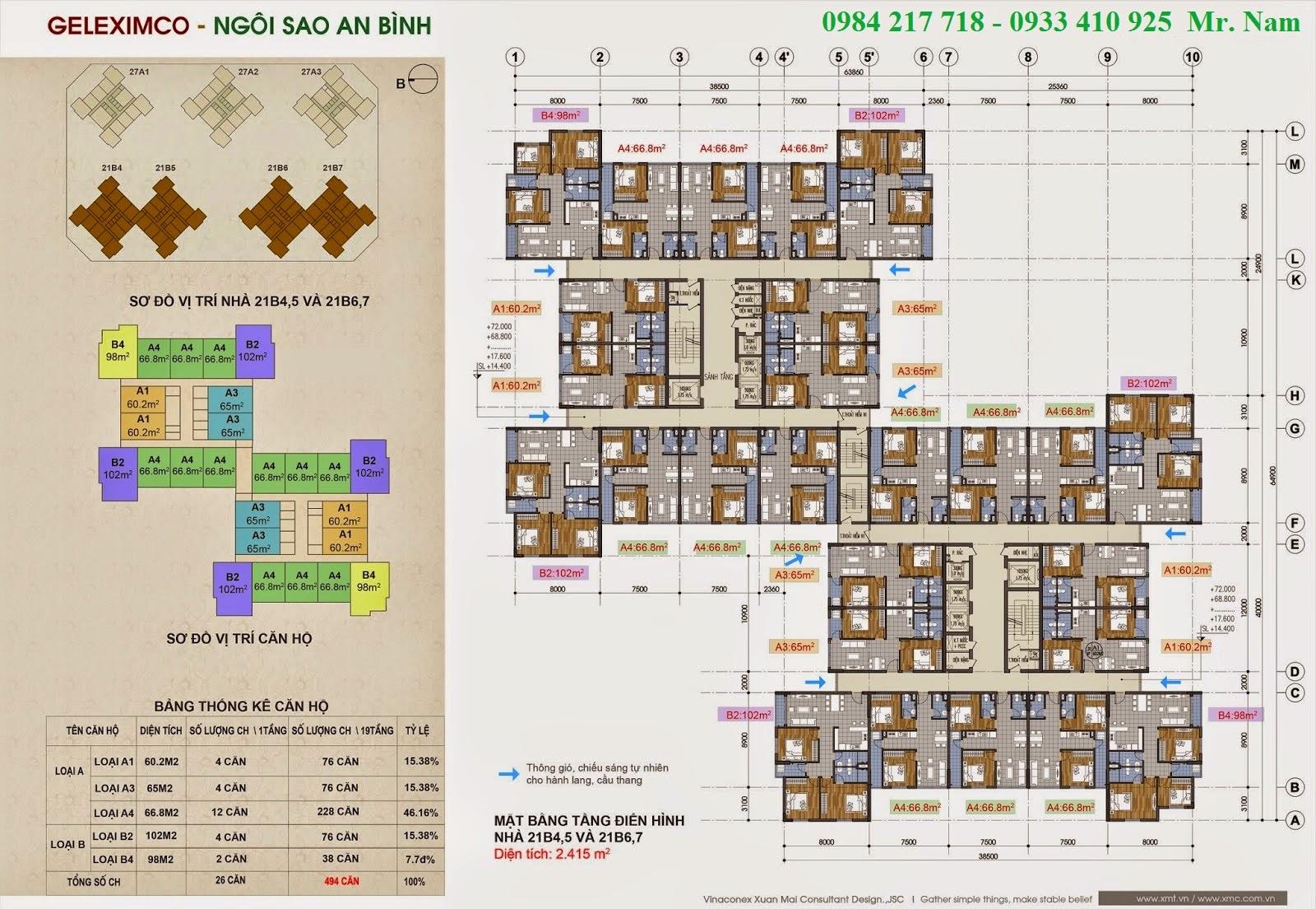 Mặt bằng tầng chung cư điển hình toà nhà 21B4,5 chung cư Green Stars