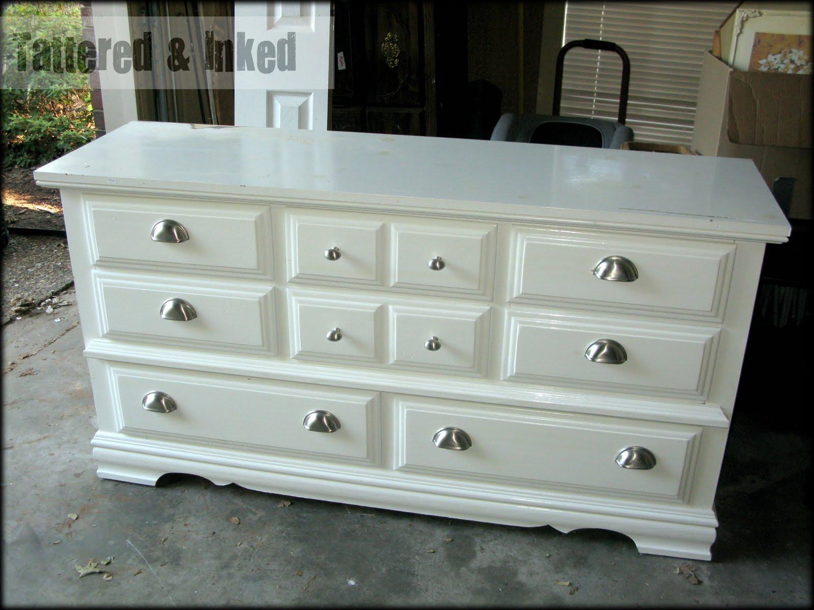 tattered and inked black white distressed dresser. Black Bedroom Furniture Sets. Home Design Ideas